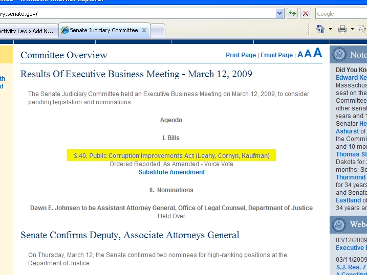 Senate Judiciary Website 3/13/09 7:30 a.m.